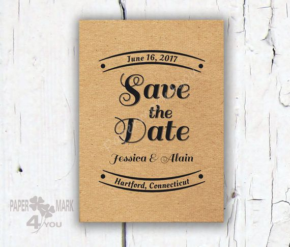 Kraft Rustic Save The Date  Custom Color  by PaperMark4You on Etsy