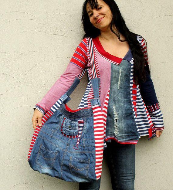 Crazy striped denim jeans recycled hip bag by jamfashion on Etsy, $59.00