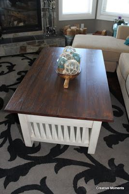 classic refinished coffee table in plaster-cappucinno