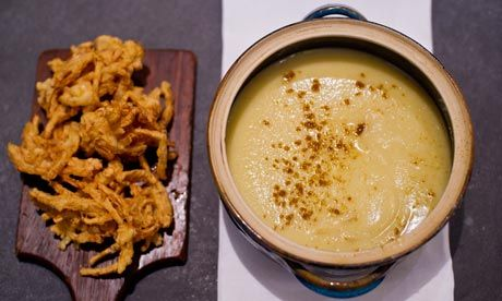 Spicy Parsnip Soup with Onion Bhaji from The Guardian. http://punchfork.com/recipe/Spicy-Parsnip-Soup-with-Onion-Bhaji-The-Guardian