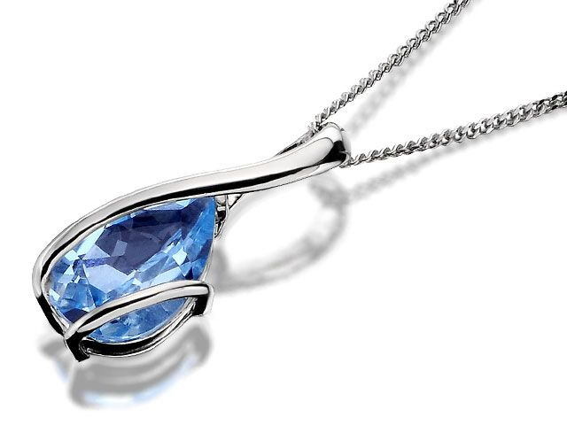 9ct White Gold Blue Topaz Teardrop Pendant And Chain - F.Hinds