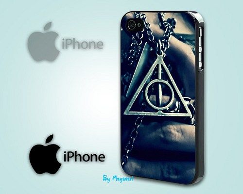 "Deathly Hallows Harry Potter Necklace Print on Hard Plastic For iPhone 5 Case, Black Case  This case is available for: iPhone 4/4S iPhone 5/5S iPhone 6 4.7"" screen Samsung Galaxy S4 Samsung Galaxy S5"