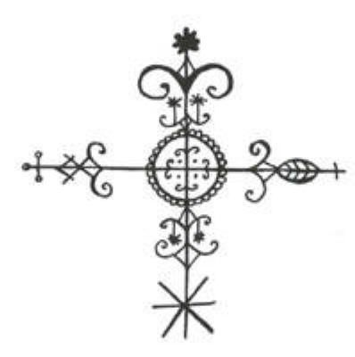 Crossroads vever - key symbol in Voodoo; the place where the physical and spirit world intersect, and also where polarities meet