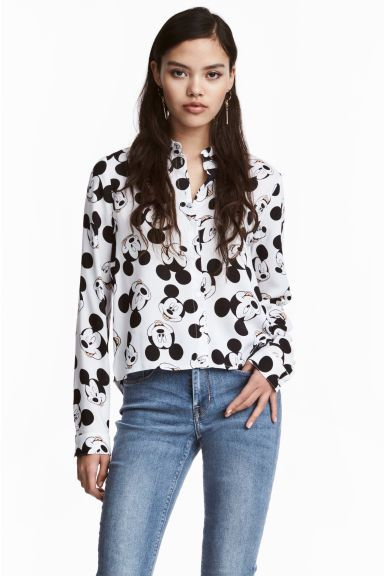 Patterned shirt - White/Mickey Mouse - Ladies | H&M GB 1