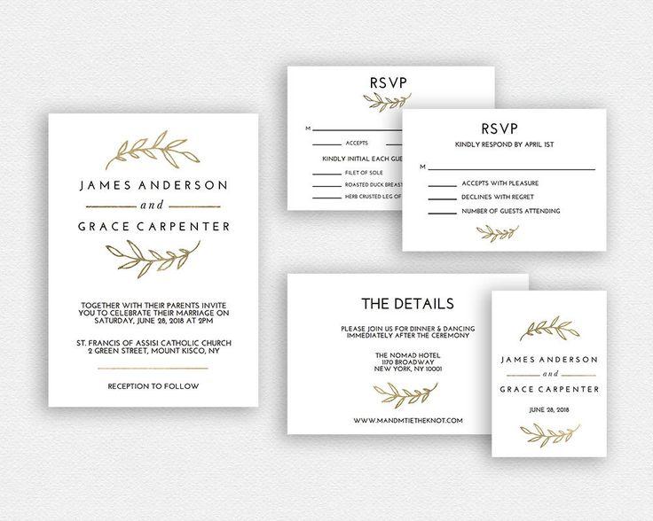 Wedding Invitation Template   Wedding Invitation Printable   Wedding Invite Template   Wedding Suite   Instant Download   EDN 5329 Gold by tumbalinastudio on Etsy https://www.etsy.com/listing/519100213/wedding-invitation-template-wedding