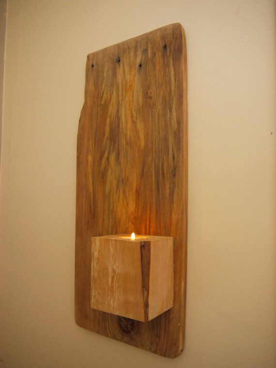 Wall Mounted Candle Holder. Wall Art. Rustic by TheWoodForgeCo
