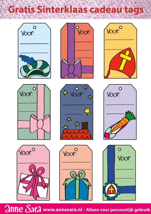 Gratis sinterklaas gift tags (labels): http://annesara.nl/index.php/sint-gift-tag/ Free gift tags #freebie