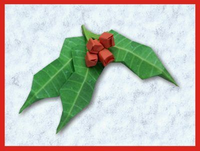 Best 1930 origami flowers images on pinterest paper flowers origami holly leaf with red berries mightylinksfo