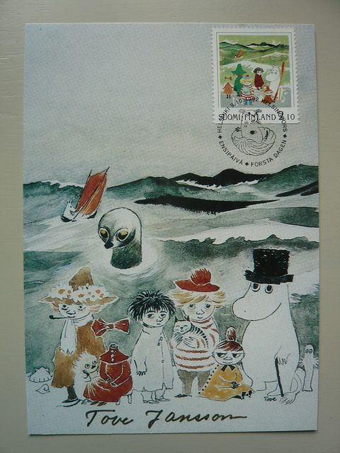 A beautiful Moomin postcard and stamp