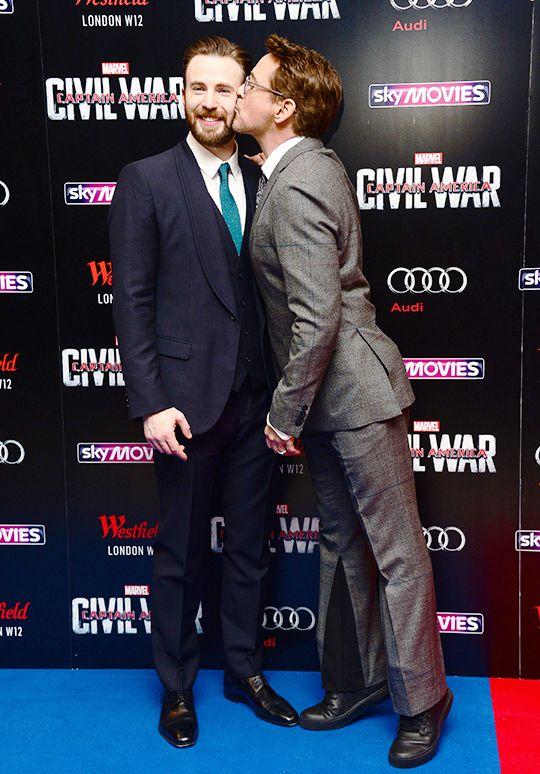 Robert Downey Jr kissing Chris Evans in the cheek || Captain America: Civil War premiere || London, April 2016