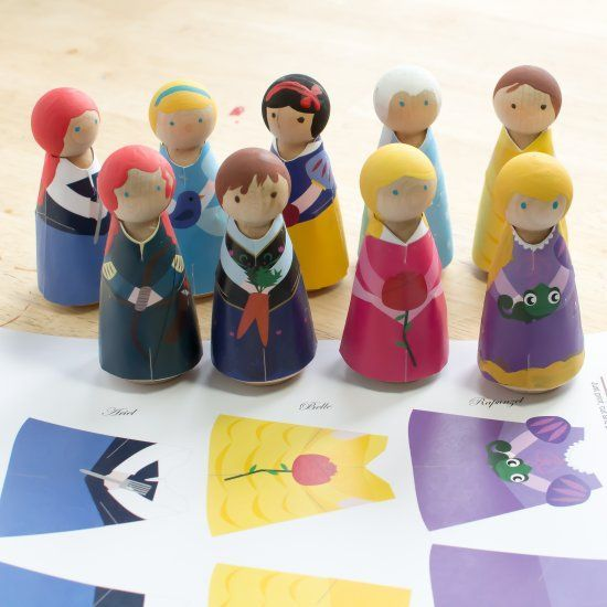 Print, cut and glue the princess outfits for wooden peg dolls. Color your own version included.