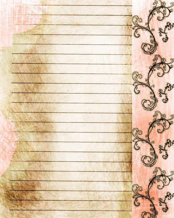 Printable Journal Page, Filigree, Pink Digital Lined Writing Journal  Stationery Paper, Digital Journal