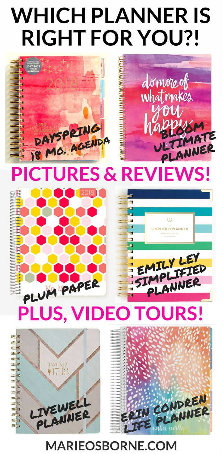 Are you struggling to find the perfect planner? Take a look behind the scenes with tons of pictures, practical reviews, and even video tours of each of the top planners. You'll definitely find the PERFECT planner for YOU! (Includes Emily Ley Simplified Planner, Plum Paper Planner, inkWell Press liveWell Planner, Erin Condren Life Planner, The Best Planner Ever by Jennifer Dawn, and DaySpring's line of 18-month Agendas)