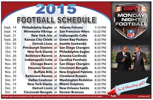 2015 Monday Night Football Schedule Magnet #Magnet