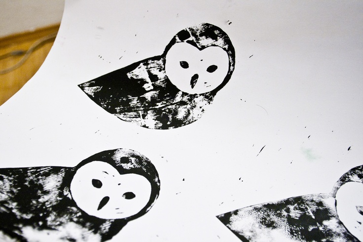 Our logo as lino print. It actually turned out pretty cool. I'm sure we are going to have this on some t-shirts.