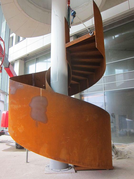 Best Corten Steel Spiral Staircase Upstairs Downstairs 400 x 300
