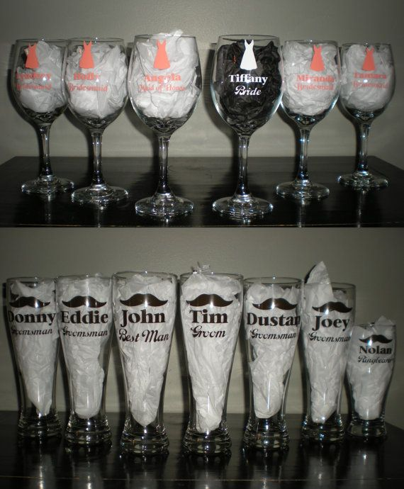 Wedding Party Wine Beer Glasses Set Bridal Gift on Etsy, $8.00