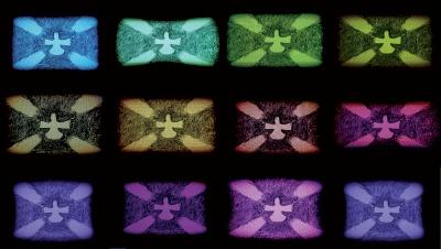 ERICA PAIVA    concept artwork    Espírito digital (stills), 2011   desenho sobre monitor e vídeo  | 44 x 81 cm  Museu de Arte Brasileira FAAP SP    Obra sobre a adoração,  novas formas de religiosidade contemporâneas    Imagens do Vídeo e desenhos  7 cores dos raios divinos