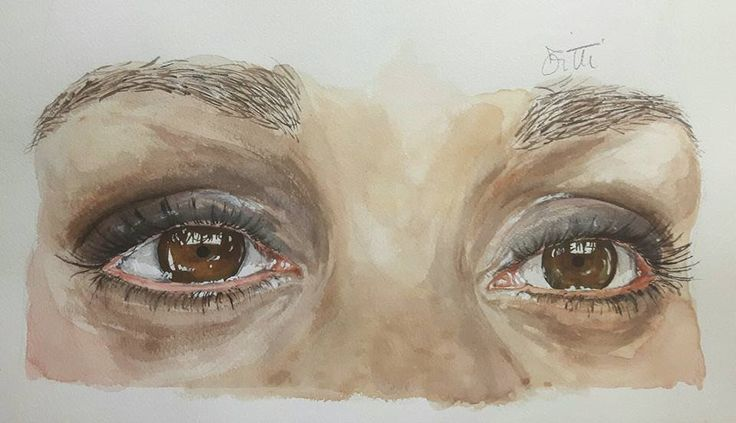 Eyes with watercolor