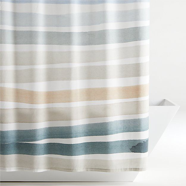 Kasura Stripe Watercolor Shower Curtain In 2020 With Images
