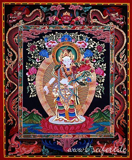 Thangka Avalokiteshvara, der Schutzpatron aller Bhuddisten. Auf Tibetisch heißt er Tschenresig #Thangkas https://www.asien.l-seifert.de/Thangkas/avalokiteshvara.php