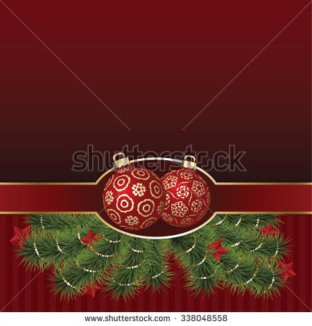 Christmas Greeting Card with golden ornament balls, green pine branch decorated stars, Vector holiday Illustration - stock vector