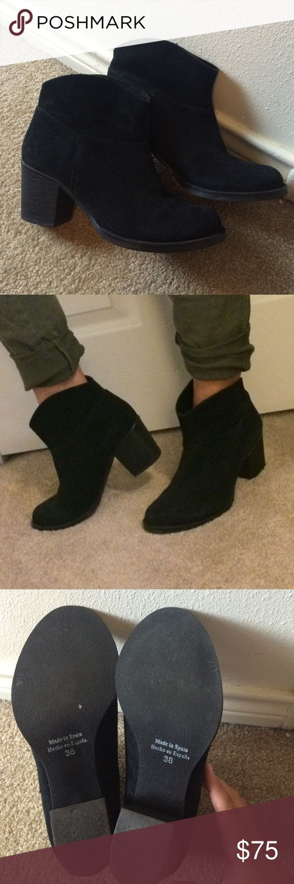 Look great for fall🍂 Black Leather Suede Boots! Like new only worn once ( a bit to big for me) Kurt Geiger boots, these are beautiful boots, and will be back for fall and winter. No zippers just slip on. Shoes Ankle Boots & Booties