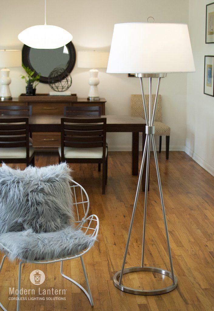 Cordless Floor Lamp Battery Operated Modern Lantern Living Room