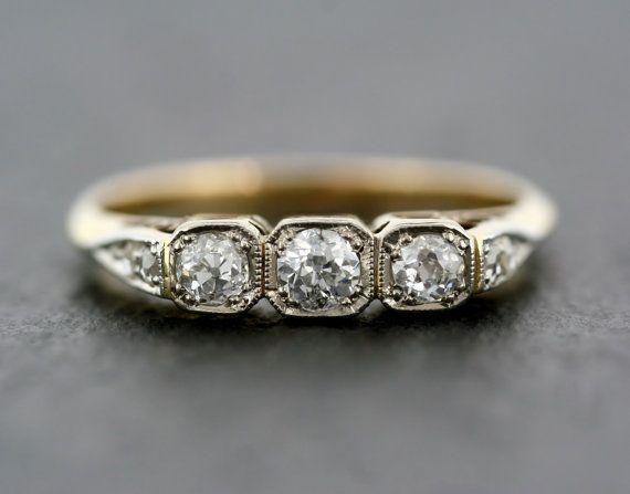 Art Deco Engagement Ring - Antique Art Deco Diamond Engagement Ring 18ct Gold & Platinum