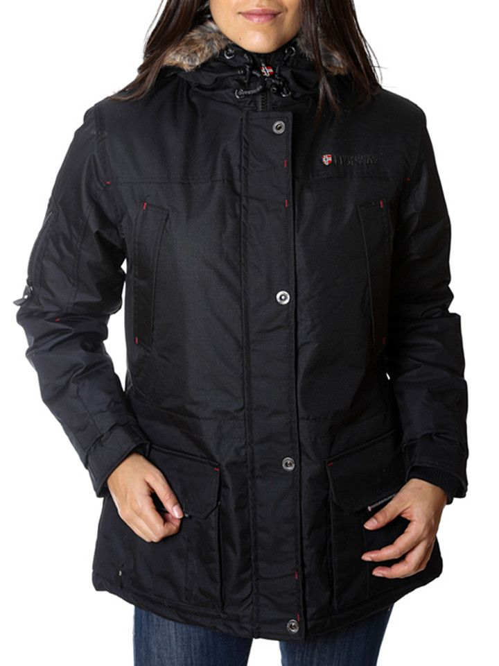 """Geographical Norway - Parka """"Atlas"""" in Schwarz 