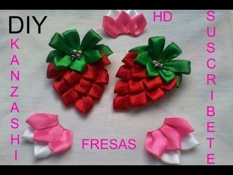 N°. 3 DIY Kanzashi Lindas Fresas Para El Cabello Con Gancho Paso a Paso -  YouTube  53e333dd2f27