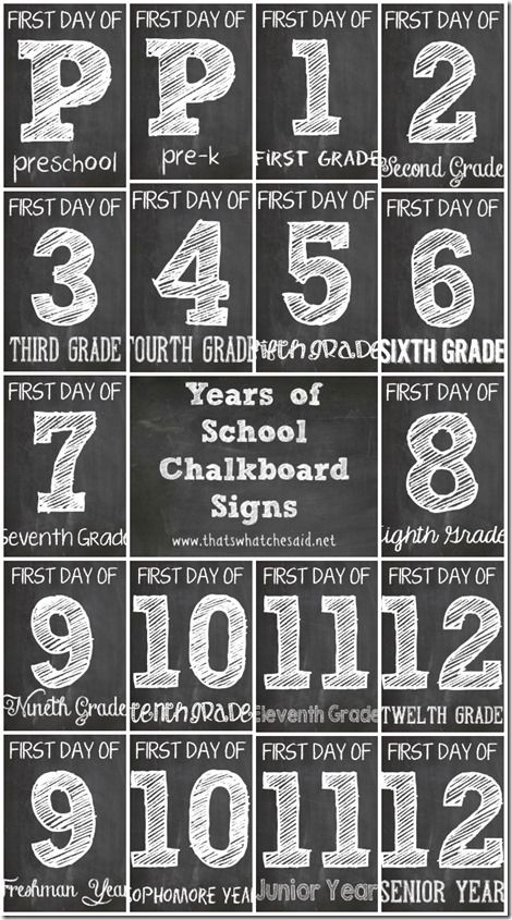 Love these chalkboard printables to use in first day of school pics!
