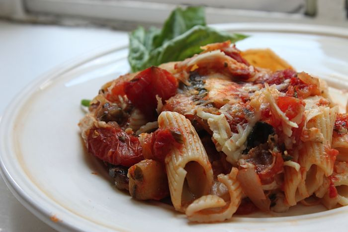 Baked Penne Rigate with Smoked Mozzarella and Eggplant Tomato Sauce