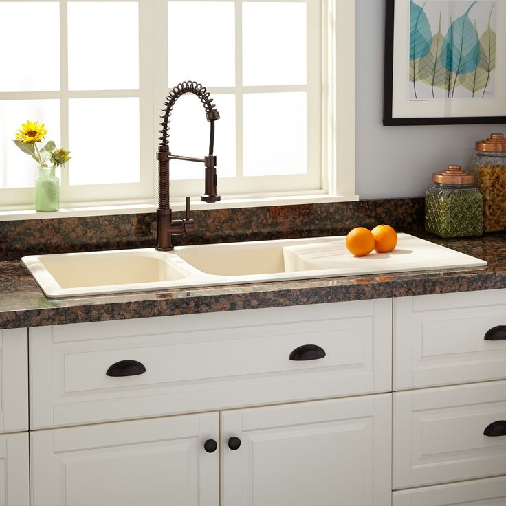 "46"" Owensboro Double-Bowl Drop-In Granite Composite Sink with Drain Board - Cream - Kitchen"
