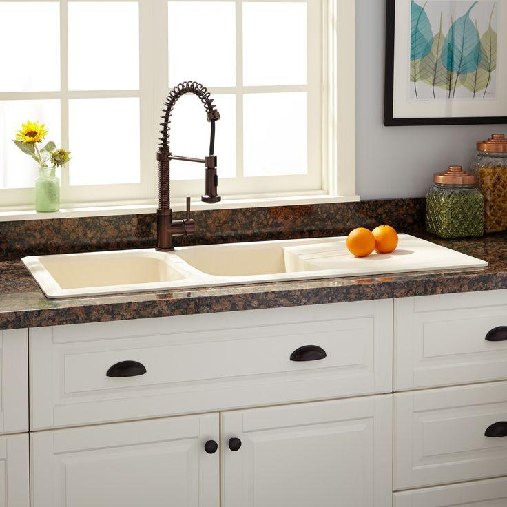 """46"""" Owensboro Double-Bowl Drop-In Granite Composite Sink with Drain Board - Cream - Kitchen"""