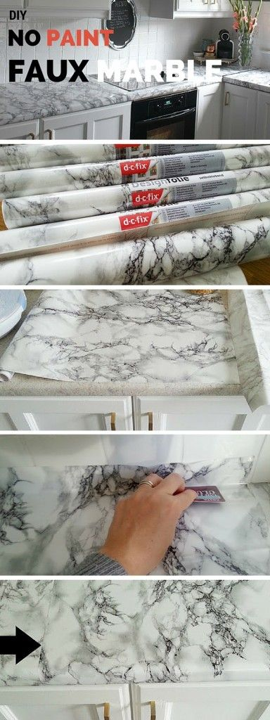 Check out the tutorial: DIY No Paint Faux Marble Possible solution for the bathroom and laundry room