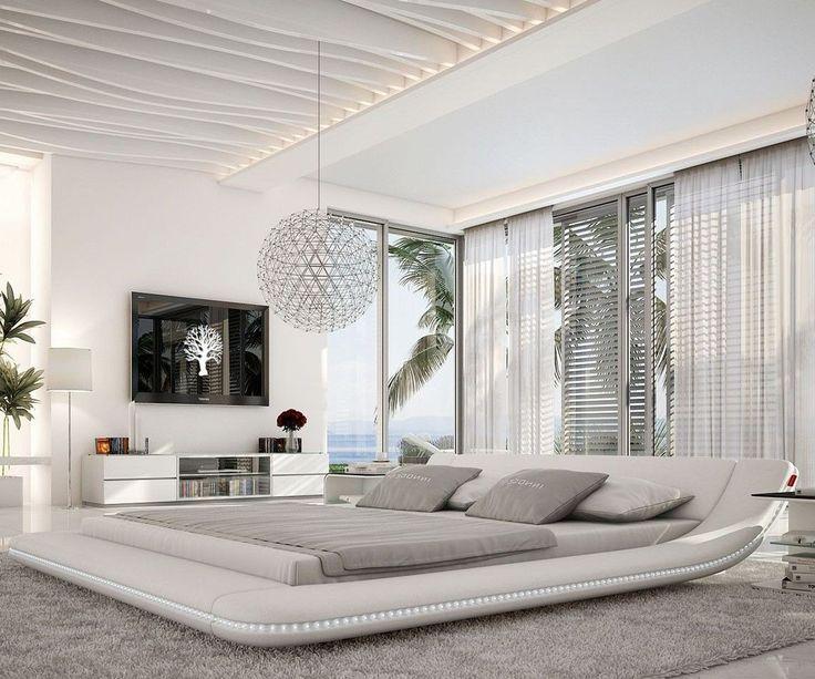 Polsterbett Perfecta 180x200cm Weiss LED Beleuchtung Möbel Betten Polsterbetten