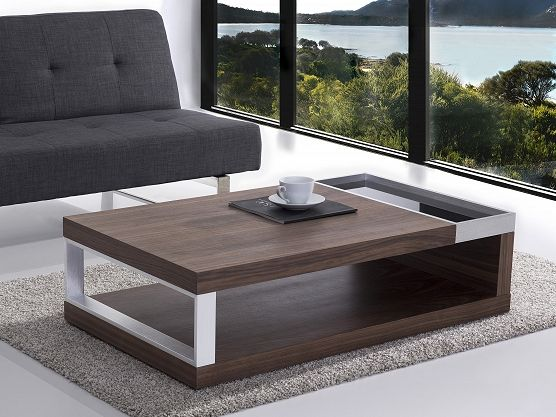 Contemporary Design Walnut and Aluminum Coffee Table - FARO