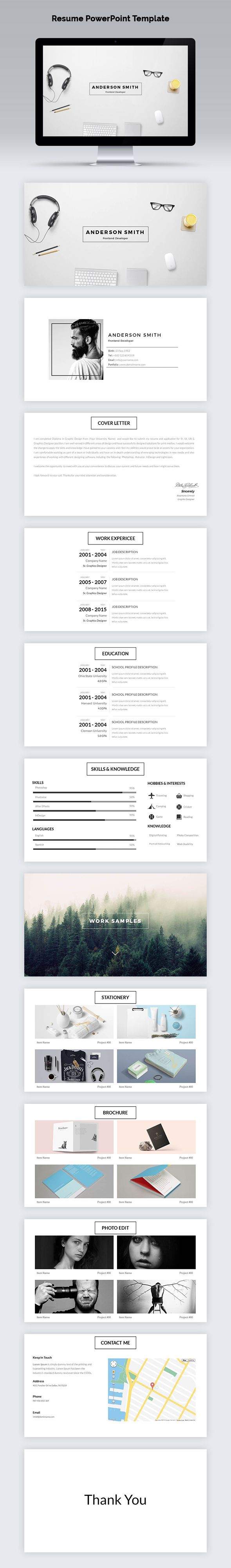 #Resume #PowerPoint Template - PowerPoint Templates #Presentation Templates Download here: https://graphicriver.net/item/resume-powerpoint-template/19746004?ref=alena994