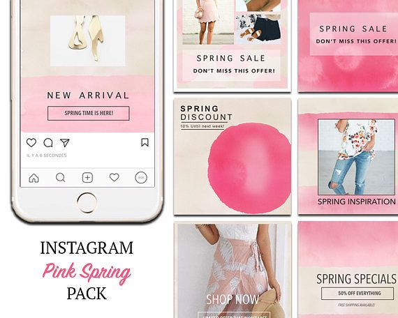 TEMPLATES: Instagram Templates, Spring Pink Social Media Marketing DIY Designs, Ready to use Photoshop Templates. PSD.