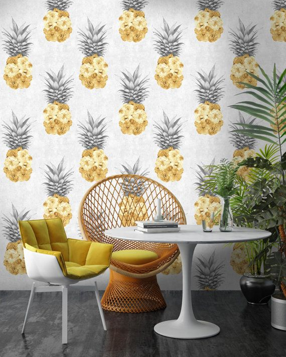 Ludic Floral Pineapple Wallpaper  A playful wallpaper showing spontaneous peony filled pineapples.  Designed and printed in Lancashire, UK by Nina Marika Tarnowski  Available in yellow and grey  https://woodchipandmagnolia.co.uk/   -This wallpaper is a paste the wall product, so can be put up in the half the time.  -It is a wipe-able heavy duty wallpaper which is easy removable.  -Our wallpapers reach the highest EU fire rating; EN15102 / EN13501 B SI. d0  Consequently are...
