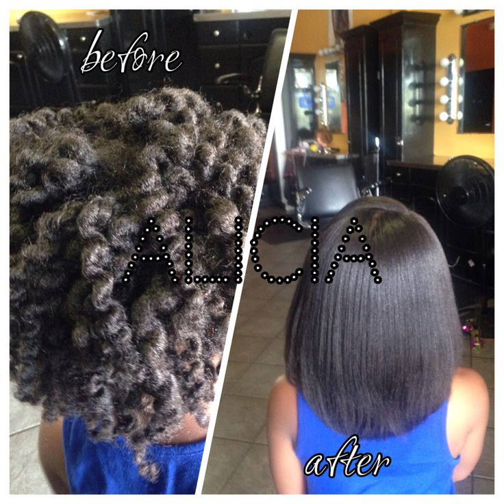 Natural Hair Flat Ironed Before And After