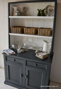 Kitchen - need a bigger hutch though - Restyled Vintage: How to get a Great Waxed Finish on Graphite Annie Sloan Chalk Painted Furniture