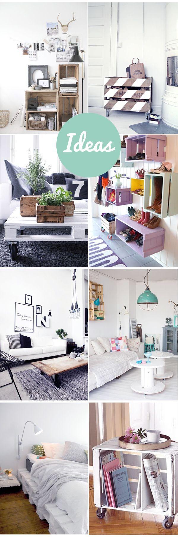 Muebles reciclados con cajas y palets de madera. Qué lindo, algunos de estos quedan perfecto en la oficina.