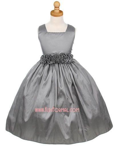 flower girl : Sleeveless Square Neck Taffeta Dress with Hand-Rolled Flower Cummerbund