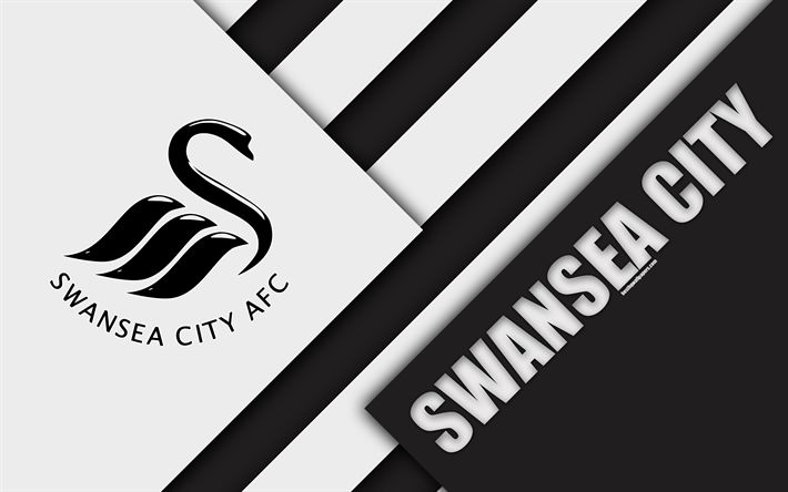 Download wallpapers Swansea City FC, logo, 4k, material design, white black abstraction, football, Swansea, England, UK, Premier League, English football club