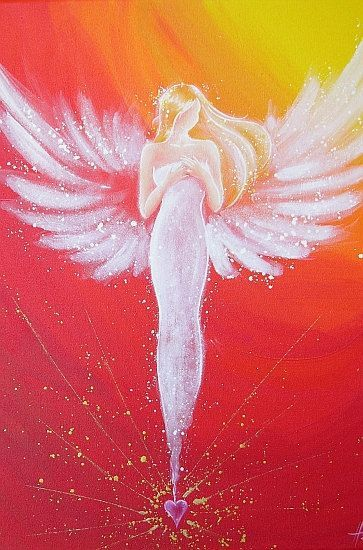Limited angel art poster, modern contemporary angel painting, artwork, print, glossy photo❤️: