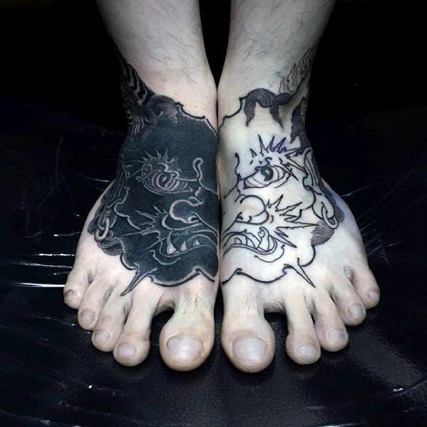 Contrasting Mens Black Ink Japanese Demon Foot Tattoos