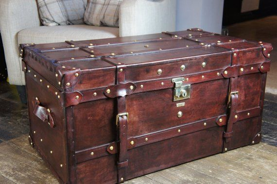 Bespoke Handmade English Leather Steamer Trunk Table