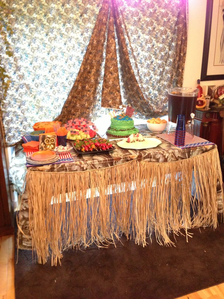 Table set up for Duck Dynasty themed party for my hubby